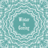 Winter background in beautiful mandala snowflake Royalty Free Stock Photo