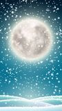 Winter background, big moon on winter sky. Winter background for mobile phone, winter landscape with snow under big shinny moon on dark sky, vector illustration royalty free illustration