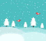 Winter background with birds Stock Image