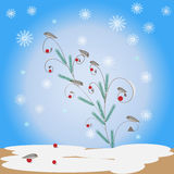 Winter background with birds Stock Photo