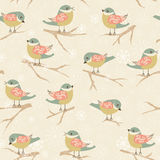 Winter background with birds Stock Photos