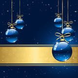 Winter background with blue christmas balls. Background with stars and Christmas balls, illustration Royalty Free Stock Image