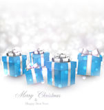 Winter background with blue christmas gifts. Winter background. Fallen defocused snowflakes. Christmas blue gifts. Vector illustration Royalty Free Stock Image