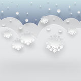 Winter background. Winter blue background with falling snow, snowflakes and snowdrift, paper cut out art style royalty free illustration