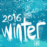 2016 Winter background. Blue grunge background with snowflakes Royalty Free Stock Photos