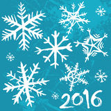 2016 Winter background. Blue grunge background with snowflakes. Vector illustration Stock Photography