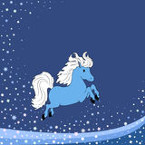 Winter background with blue horse. New year winter background with blue horse stock illustration