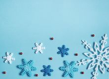 Winter background blue, snowflakes. Banner royalty free stock photography