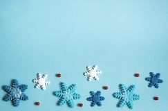 Winter background blue, snowflakes. Banner stock photo