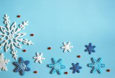 Winter background blue, snowflakes. Banner stock photography