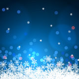 Winter background with bokeh and snowflakes. Blue winter background with bokeh and snowflakes stock illustration