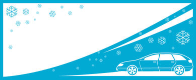 Winter background with car and snowflake Stock Photography