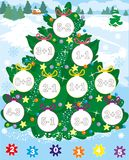 New year tree. christmas game. count and color. simple level. Stock Image