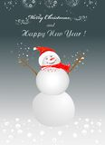 Winter background with cheerful snowman Stock Photos