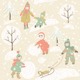 Winter background with children Stock Photography