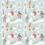 Winter background with children Stock Photos