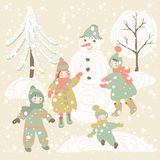 Winter background with children Royalty Free Stock Photo