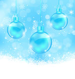 Winter background with Christmas balls Stock Image