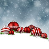 Winter background with christmas balls. Royalty Free Stock Photography
