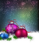 Winter background with christmas balls. Christmas background with fir branches and balls. Vector illustration Stock Images