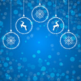 Winter background with christmas balls Stock Images