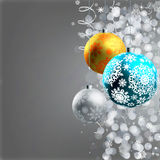 Winter background with Christmas decoration. Balls for xmas design. EPS 8  file included Royalty Free Stock Photo