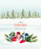 Winter background with christmas gift boxes. Vector Royalty Free Stock Image