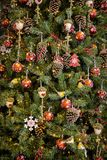Christmas fir tree with toys, balls and other Christmas decorations. stock images