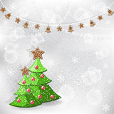 Winter background. Christmas tree. Royalty Free Stock Images
