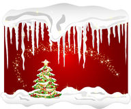 Winter background with christmas tree and icicle Stock Image