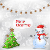 Winter background. Christmas tree and snowman. Stock Photography