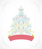 Winter background with Christmas tree. Royalty Free Stock Images