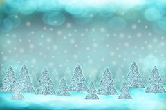 Winter background with Christmas trees Royalty Free Stock Photos