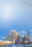 Winter Background with church Stock Image