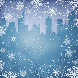 Winter background with city scape silhouette Stock Photo