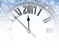 2017 winter background with clock. 2017 winter background with clock and snowflakes. Vector illustration Royalty Free Stock Photo