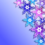 Winter background with 3d colorful snowflakes. Winter abstract blue - purple background with 3d colorful snowflakes. New Year and Christmas card with place for Stock Photo