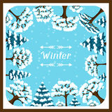 Winter background design with abstract stylized. Trees Royalty Free Stock Images