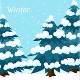 Winter background design with abstract stylized. Trees Stock Photos