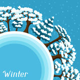 Winter background design with abstract stylized. Trees Stock Images