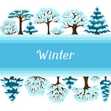 Winter background design with abstract stylized. Trees Stock Photo