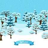 Winter background design with abstract stylized. Trees Stock Image