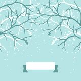 Winter background design with stylized tree Stock Photo