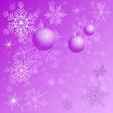Winter background with different snowflakes and balls 2015. Vector illustration Royalty Free Stock Images