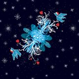 Winter background with doodle birds, hearts and Royalty Free Stock Photos