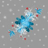 Winter background with doodle birds, hearts and Stock Image
