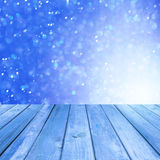 Winter background with empty wooden deck Stock Photography