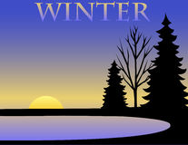 Winter Background/eps. A Winter silhouette illustration with a colorful gradient background...eps file available where trees are separate and can be moved Stock Images