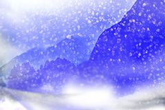 Winter background. Falling snow in the mountains. stock illustration