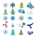 Winter background with figure skates and snowflakes. Can be use as banner or poster.Vector illustration. Stock Photos